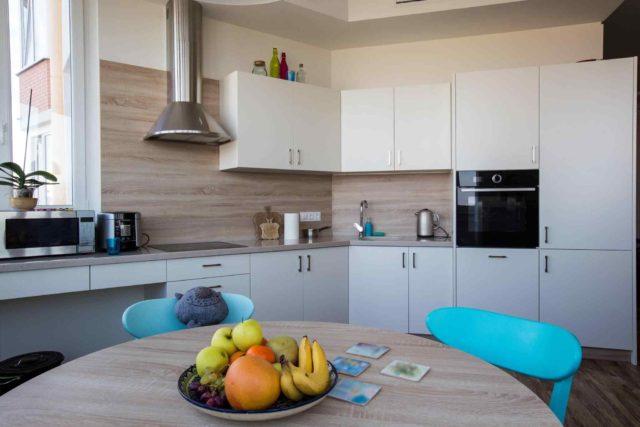 A wooden cottage kitchen
